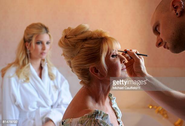 RATES Ivanka Trump wasches as Ivana Trump sits for makeup before the wedding of Ivana Trump and Rossano Rubicondi at the MaraLago Club on April 12...