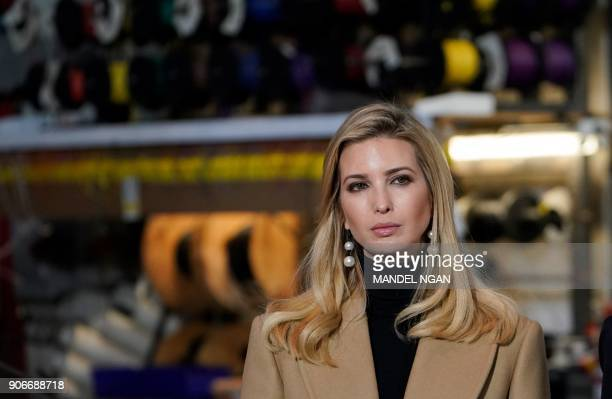Ivanka Trump watches as US President Donald Trump tours the HK Equipment Company in Coraopolis Pennsylvania on January 18 2018 PHOTO / Mandel NGAN