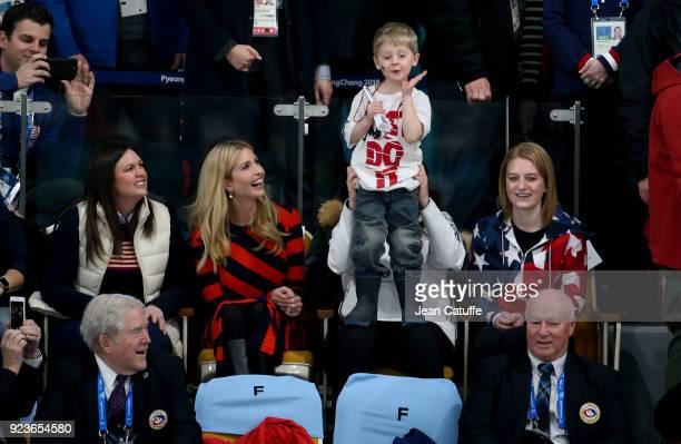 Ivanka Trump watches Luke Shuster son of John Shuster with Becca Hamilton US curler and sister of Matt Hamilton during the Curling Men's Gold Medal...