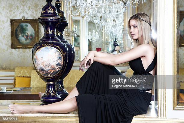 Ivanka Trump wearing a headband by Maison Michel and jewelry by Ivanka Trump Collection poses during a photos shoot on March 25 2009 in New York City
