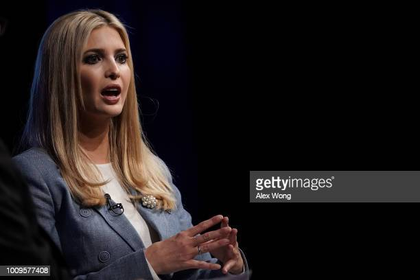 Ivanka Trump White House adviser and daughter of President Donald Trump speaks during an Axios360 News Shapers event August 2 2018 at the Newseum in...