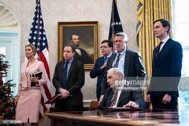 Ivanka Trump White House communications director Bill Shine Senior advisor Jared Kushner and Outgoing White House Chief of Staff General John Kelly...