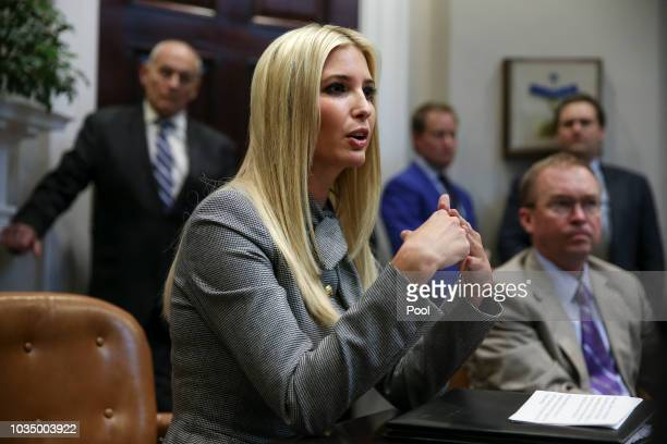 Ivanka Trump, White House senior adviser and daughter of President Donald Trump, speaks during the inaugural meeting of the Presidents National...