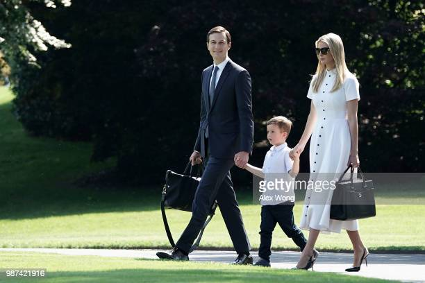 Ivanka Trump White House senior adviser and daughter of President Donald Trump walks with her husband Jared Kushner and their son Joseph Kushner on...