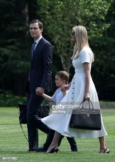Ivanka Trump White House senior adviser and daughter of President Donald Trump walks with her husband Jared Kushner and their son Joseph Kushner on...