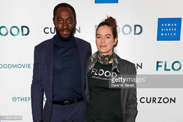 """Ivanno Jeremiah and Lena Headey attend a special screening of """"The Flood"""" at The Curzon Mayfair on June 14, 2019 in London, England."""