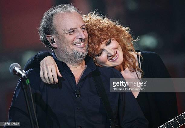 Ivano Fossati and Fiorella Mannoia perform at Che Tempo Che Fa Italian TV Show on January 23 2012 in Milan Italy