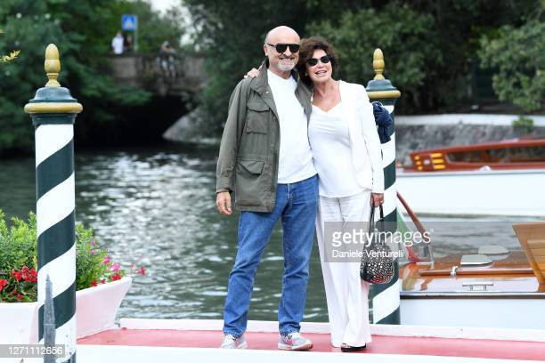 Ivano Marescotti and Corinne Clery are seen arriving at the 77th Venice Film Festival on September 07, 2020 in Venice, Italy.