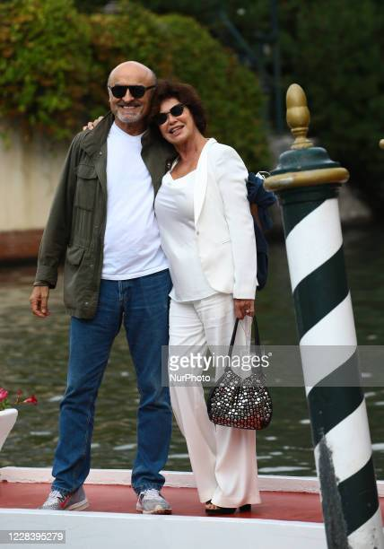 Ivano Marescotti and Corinne Clery is seen arriving at the Excelsior during the 77th Venice Film Festival on September 07, 2020 in Venice, Italy.