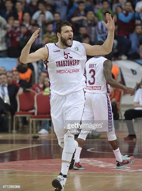 Ivanov Kaloyan of Trabzonspor Medical Park reacts during the FIBA EuroChallenge Final Four basketball match between Trabzonspor Medical Park and...