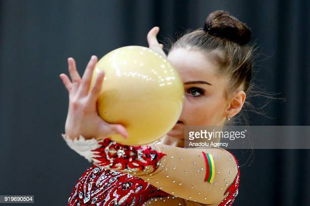 Ivanova Julija of Lithuania performs during the 2018 Moscow Rhythmic Gymnastics Grand Prix GAZPROM Cup in Moscow, Russia on February 17, 2018.