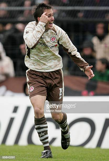 Ive Sulentic of StPauli gestures during the match of the Third Bundesliga between FC St Pauli and Carl Zeiss Jena at the Millerntor Stadium on...