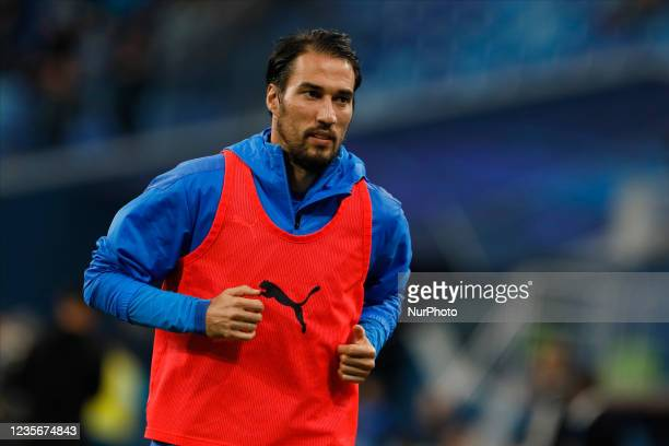 Ivelin Popov of Sochi warms-up during the Russian Premier League match between FC Zenit Saint Petersburg and FC Sochi on October 3, 2021 at Gazprom...