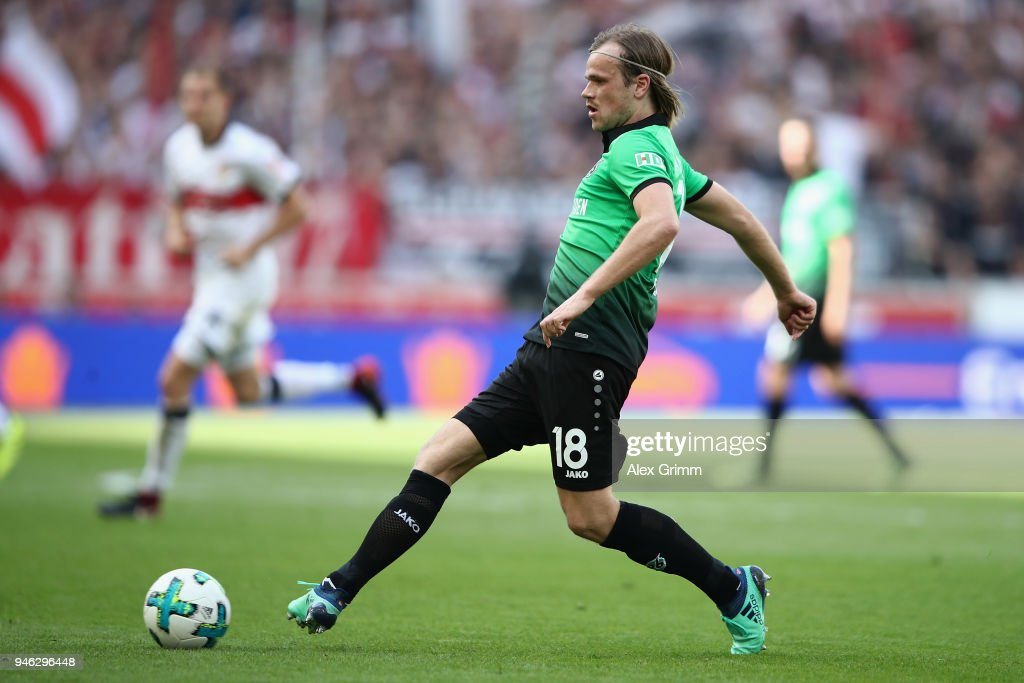 Iver Fossum of Hannover controls the ball during the Bundesliga match between VfB Stuttgart and Hannover 96 at Mercedes-Benz Arena on April 14, 2018 in Stuttgart, Germany.