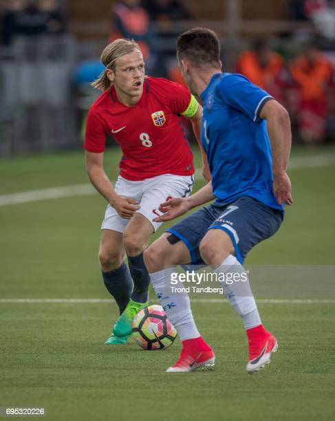 Iver Fossum of Norway Valmir Sulejmani of Kosovo during the Qualifying Round European Under 21 Championship 2019 between Norway v Kosovo at Ullevaal...
