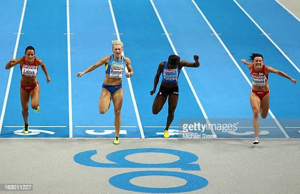 Ivet Lalova of Bulgaria silver medalist Mariya Ryemyen of Ukraine bronze medalist Myriam Soumare of France and gold medalist Tezdzhan Naimova of...