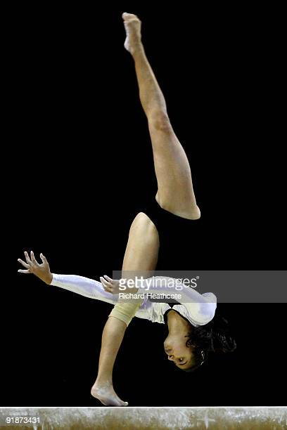Ivet Rojas of Venezuela competes in the balance beam event during the second day of the Artistic Gymnastics World Championships 2009 at O2 Arena on...