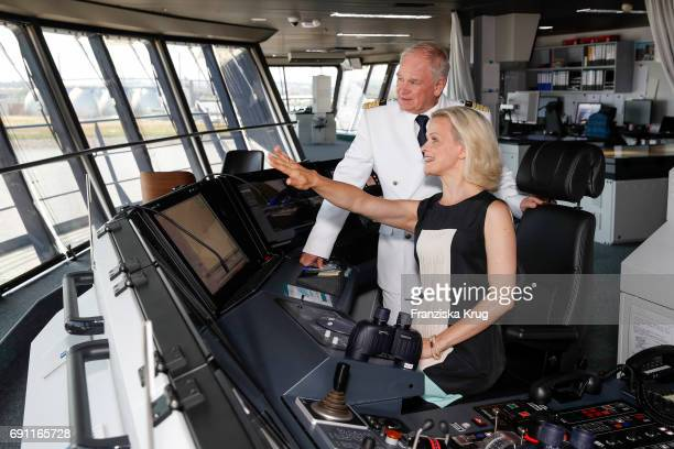 Iveta Apkalna and Kjell Holm are seen during the naming ceremony of the cruise ship 'Mein Schiff 6' on June 1 2017 in Hamburg Germany