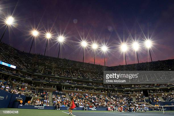 Iveta Benesova of the Czech Republic serves to Maria Sharapova of Russia during day four of the 2010 U.S. Open at the USTA Billie Jean King National...