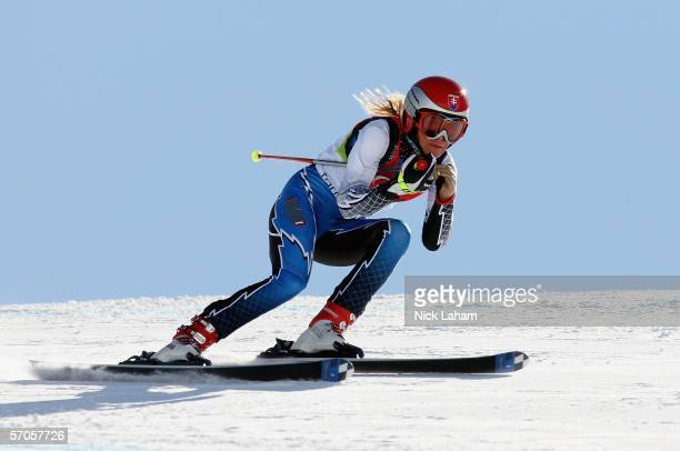 Iveta Chlebakova of Slovakia takes bronze in the Women's Standing Dowhill Skiing competition on Day 1 of the 2006 Turin Winter Paralympic Games on...