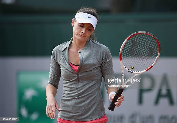 Iveta Melzer of Czech Republic reacts during her women's singles match against Coco Vandeweghe of the United States on day three of the French Open...
