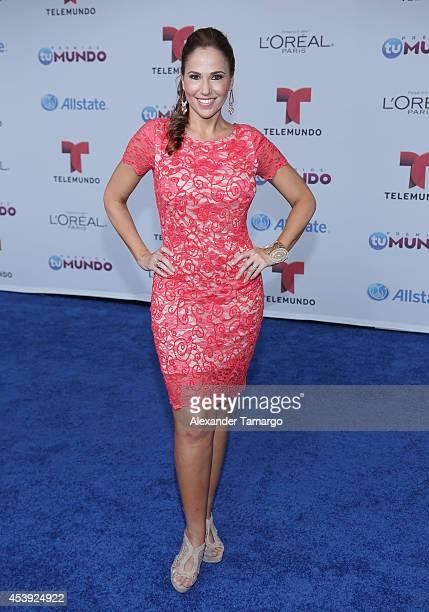 Ivette Machin arrives at Telemundo's Premios Tu Mundo Awards 2014 at American Airlines Arena on August 21 2014 in Miami Florida