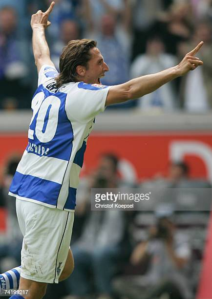 Ivica Grli of Duisburg celebrates the third goal during the Second Bundesliga match between MSV Duisburg and RotWeiss Essen at the MSV Arena on May...