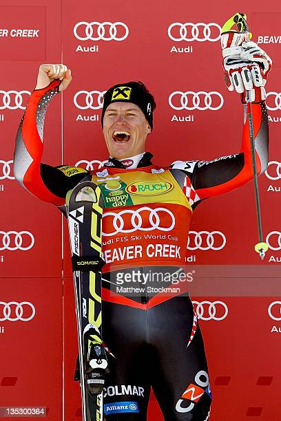 Ivica Kostelic of Croatia celebrates on the victory podium after winning the men's slalom on the Birds of Prey at the Audi FIS World Cup on December...