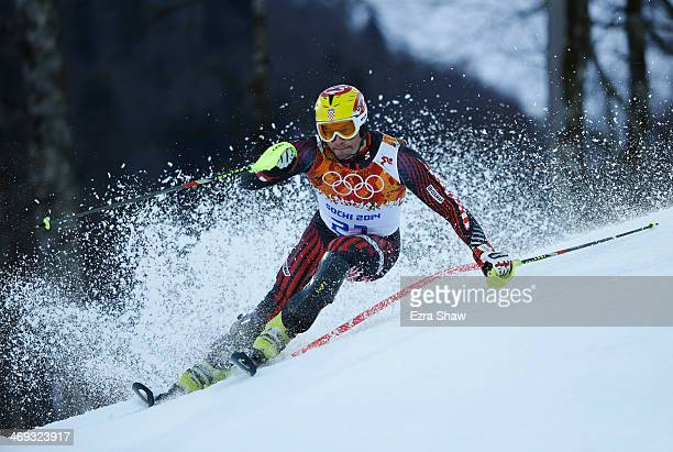 Ivica Kostelic of Croatia competes during the Alpine Skiing Men's Super Combined Downhill on day 7 of the Sochi 2014 Winter Olympics at Rosa Khutor...