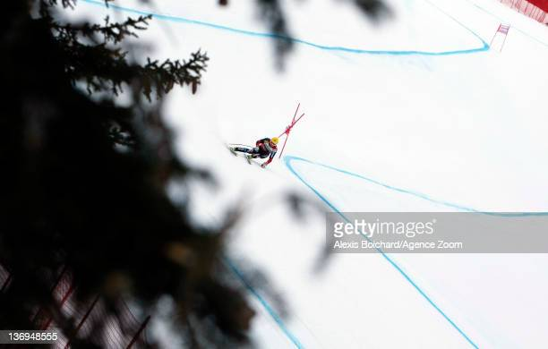 Ivica Kostelic of Croatia competes on his way to taking 1st place during the Audi FIS Alpine Ski World Cup Men's Super Combined on January 13 2012 in...