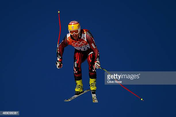 Ivica Kostelic of Croatia in action during a training session for the Alpine Skiing Men's Super Combined Downhill on day 6 of the Sochi 2014 Winter...