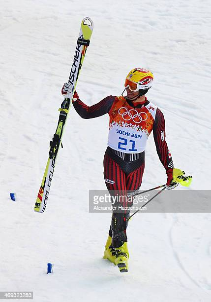 Ivica Kostelic of Croatia reacts during the Alpine Skiing Men's Super Combined Downhill on day 7 of the Sochi 2014 Winter Olympics at Rosa Khutor...