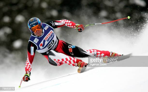 Ivica Kostelic of Croatia skiis in the FIS Skiing World Cup Men's combined March 09, 2007 in Kvitfjell, Norway.