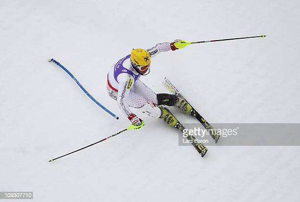 Ivica Kostelic of Croatia skis in the Men's Slalom during the Alpine FIS Ski World Championships on the Gudiberg course on February 20 2011 in...