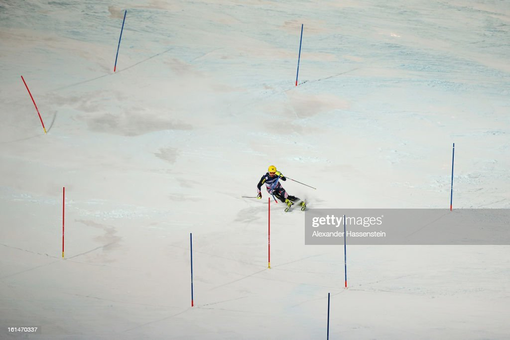 Ivica Kostelic of Croatia skis in the slalom section on his way to finishing second in the Men's Super Combined during the Alpine FIS Ski World Championships on February 11, 2013 in Schladming, Austria.