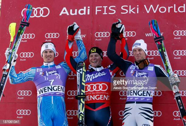 Ivica Kostelic of Croatia takes 1st place Andre Myhrer of Sweden takes 2nd place Fritz Dopfer of Germany takes 3rd place during the Audi FIS Alpine...