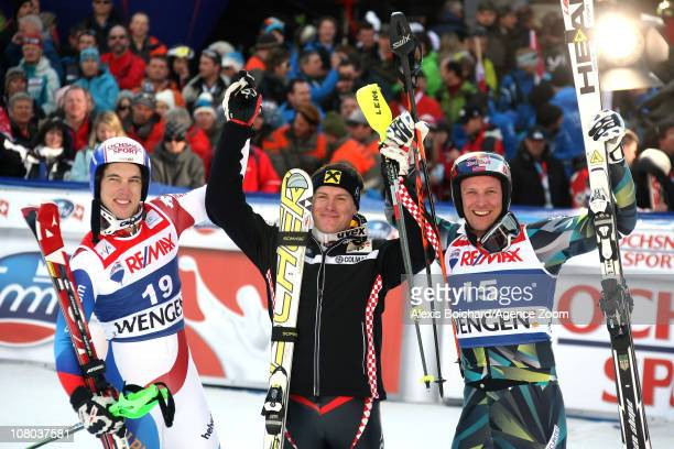 Ivica Kostelic of Croatia takes 1st place Carlo Janka of Switzerland takes 2nd place Aksel Lund Svindal of Norway takes 3rd place during the Audi FIS...
