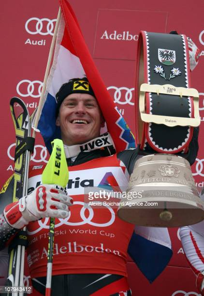 Ivica Kostelic of Croatia takes 1st place during the Audi FIS Alpine Ski World Cup Men's Slalom on January 09 2011 in Adelboden Switzerland