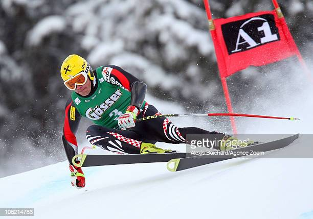 Ivica Kostelic of Croatia takes 1st place during the Audi FIS Alpine Ski World Cup Men's SuperG on January 21, 2011 in Kitzbuehel, Austria.