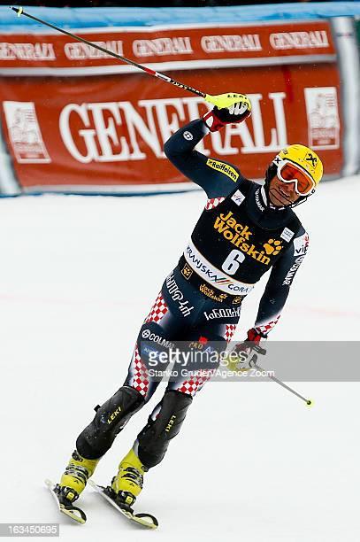 Ivica Kostelic of Croatia takes 1st place during the Audi FIS Alpine Ski World Cup Men's Slalom on March 10, 2013 in Kranjska Gora, Slovenia.