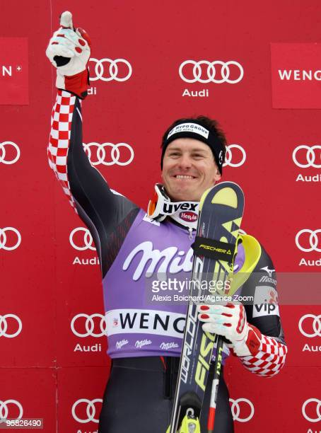 Ivica Kostelic of Croatia takes 1st place during the Audi FIS Alpine Ski World Cup Men's Slalom on January 17 2010 in Wengen Switzerland