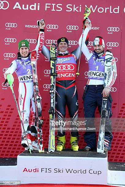 Ivica Kostelic of Croatia takes 1st place Marcel Hirscher of Austria takes 2nd place Jean Baptiste Grange of France takes 3rd place during the Audi...