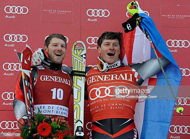 Ivica Kostelic of Croatia takes 1st place Natko ZrncicDim of Croatia takes 2nd place during the Audi FIS Alpine Ski World Cup Men's Super Combined on...