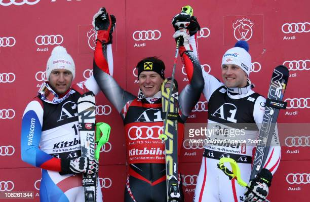 Ivica Kostelic of Croatia takes 1st place Silvan Zurbriggen of Switzerland takes 2nd place and Romed Baumann of Austria takes 3rd place in the Audi...