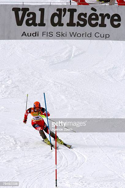 Ivica Kostelic of Croatia takes 2nd place during the FIS Alpine Ski World Cup Men's Super Combined event February 3 2008 in Val D'Isere France