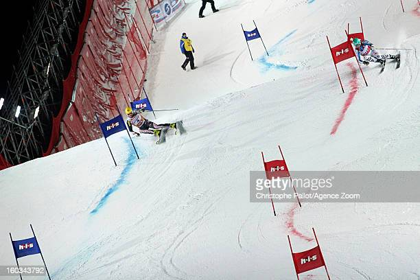Ivica Kostelic of Croatia takes 3rd place competes during the Audi FIS Alpine Ski World Cup Men and Women's Parallel slalom on January 29 2013 in...