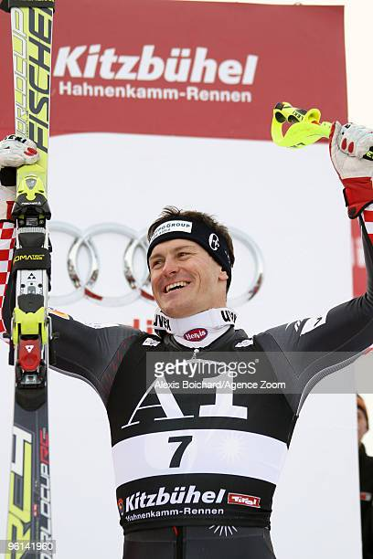 Ivica Kostelic of Croatia takes first place competes during the Audi FIS Alpine Ski World Cup Men's combined on January 24 2010 in Kitzbuehel Austria