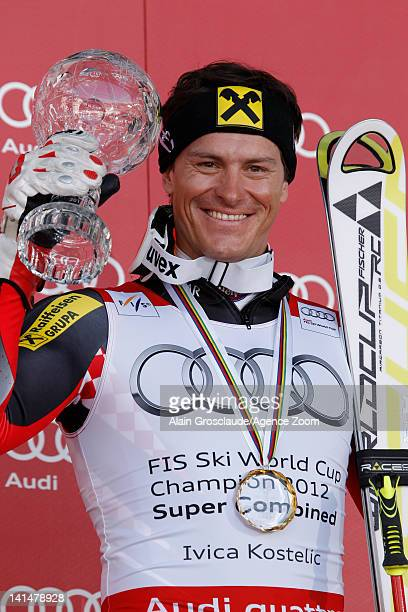 Ivica Kostelic of Croatia wins the Overall Combined globe on March 17 2012 in Schladming Austria