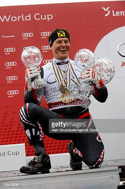 Ivica Kostelic of Croatia wins the Overall World Cup on March 19 2011 in Lenzerheide Switzerland
