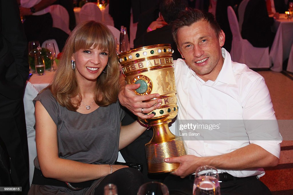 Ivica Olic and his wife Natalie attend the Bayern Muenchen Champions Party after the DFB Cup Final match against Werder Bremen at DeutscheTelekom Representative House on May 15, 2010 in Berlin, Germany.